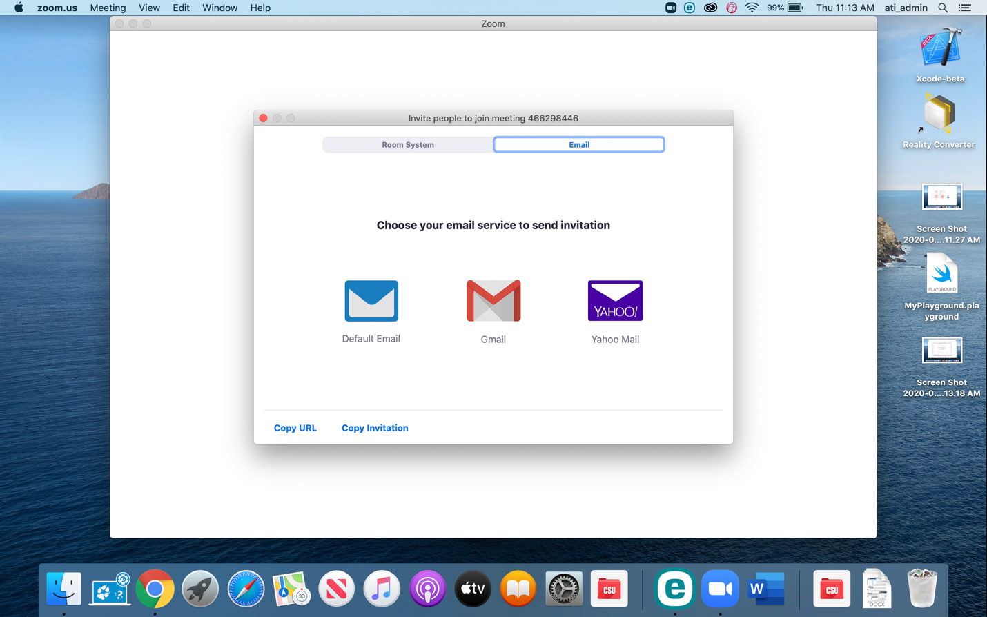 Options to email the zoom link.
