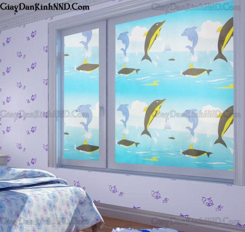 Mẫu decal dán kính cửa sổ phòng ngủ họa tiết ngộ nghĩnh