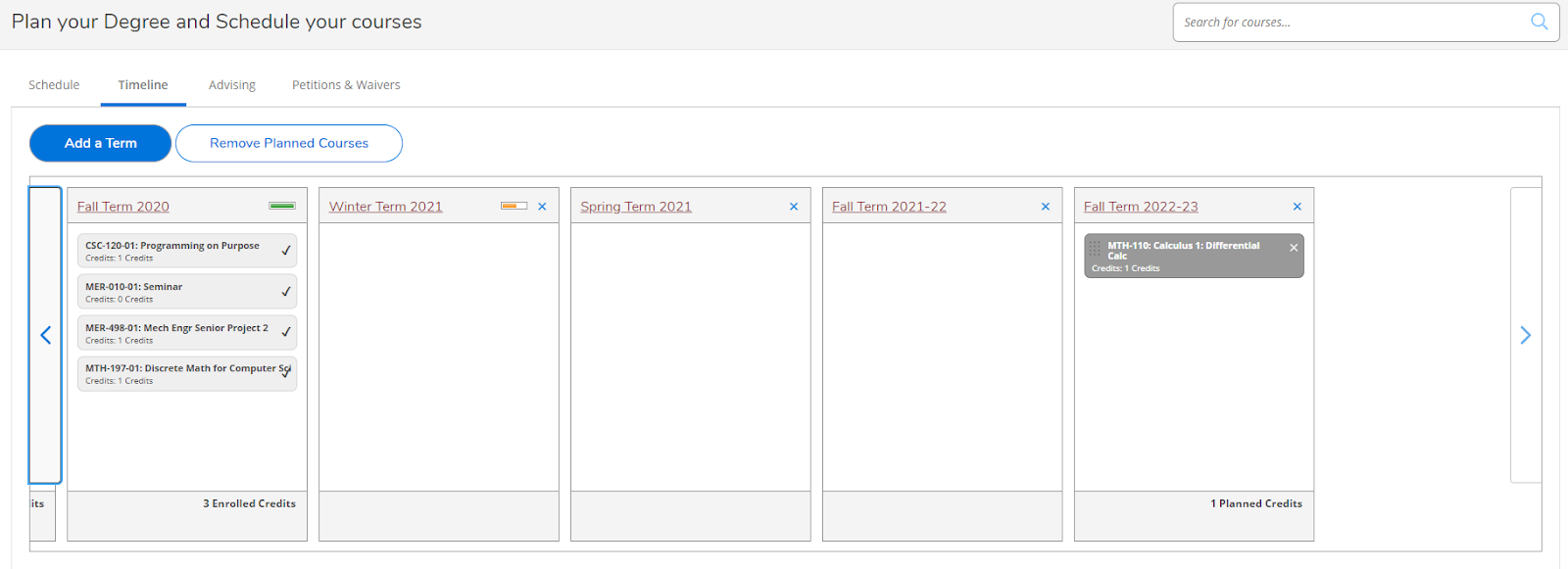 Screenshot of Timeline view