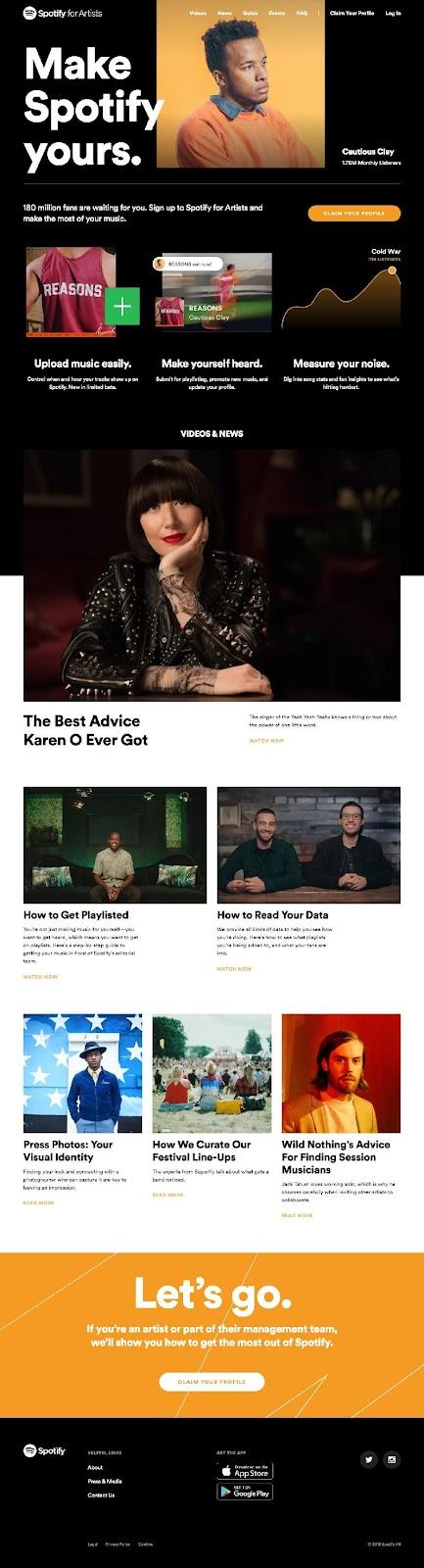 landing page spotify para músicos