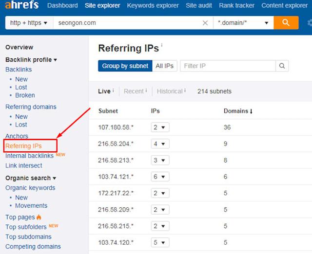 Khi phân tích backlink bằng Ahref, bạn cần chú ý tới số IP trỏ về website của mình