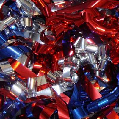 Red Silver and  Blue Metallic Streamers will sparkle with reflections of light as they soar through the air at parades and celebrations