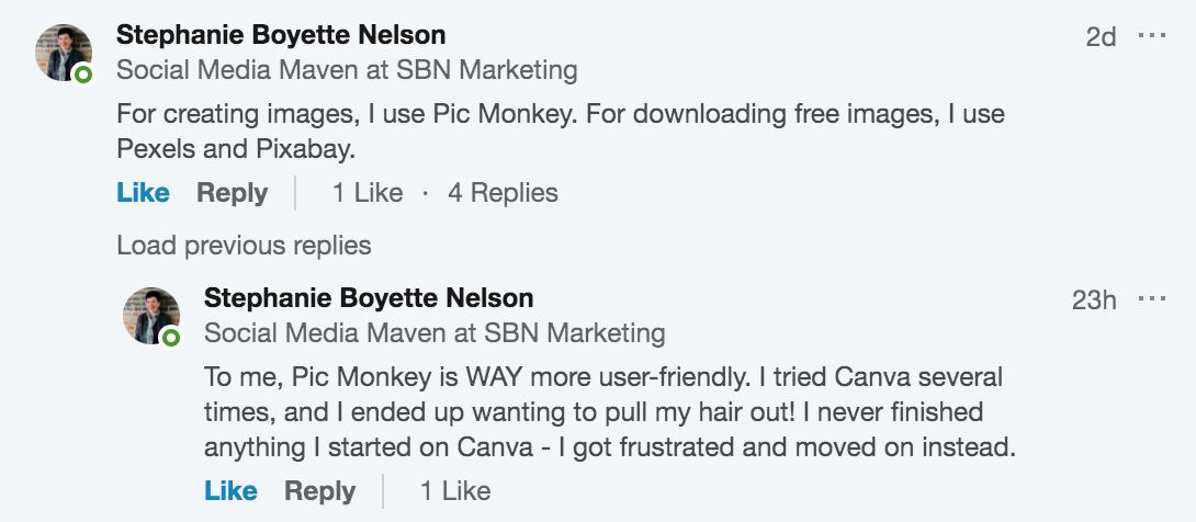 Screenshot showing Stephanie Boyette Nelson recommending Pic Monkey, Pexels, and Pixabay.
