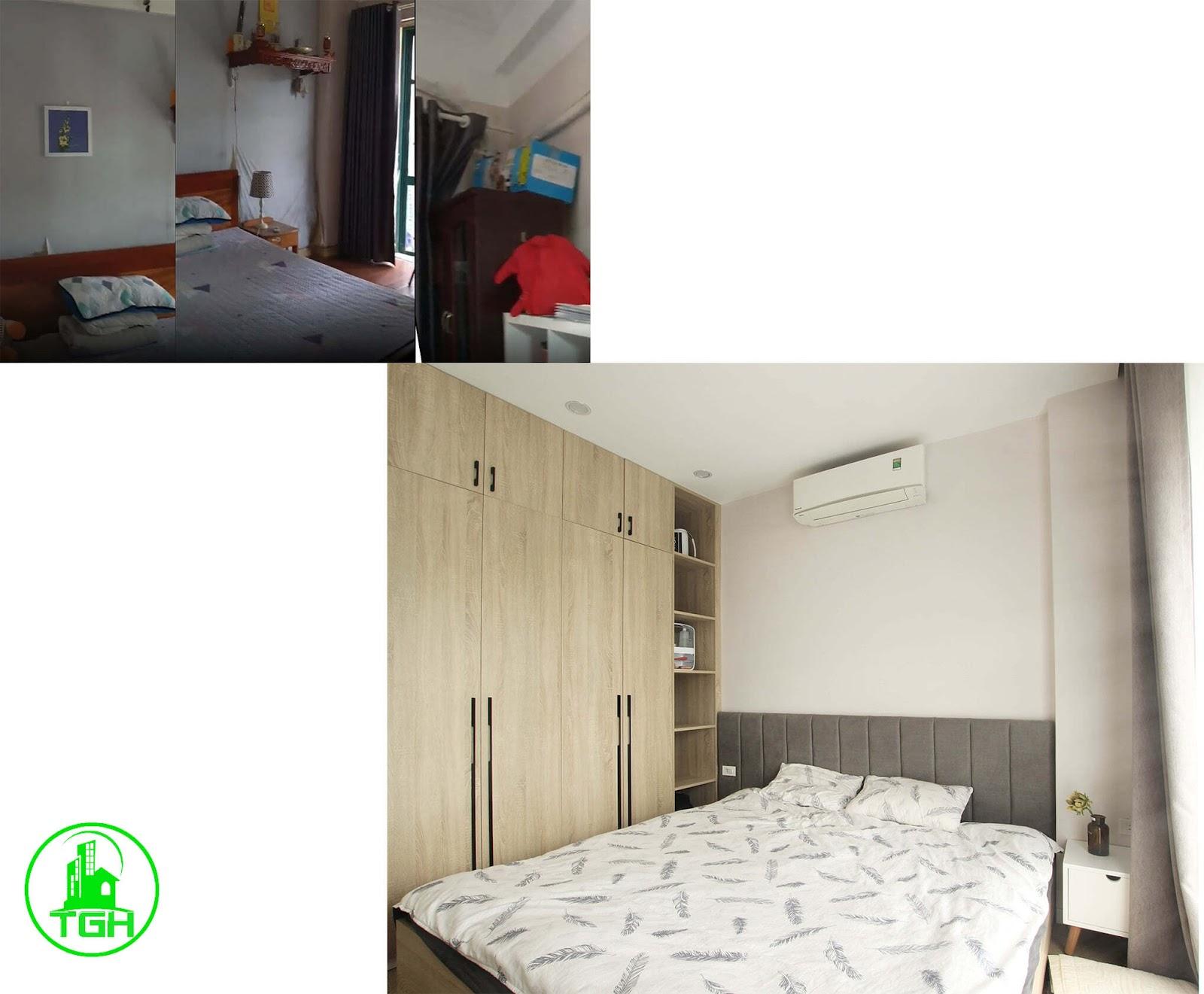 phòng ngủ lớn trước và sau khi sửa chữa
