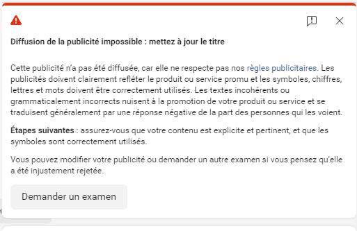 Facebook Ads notification refus de publicité