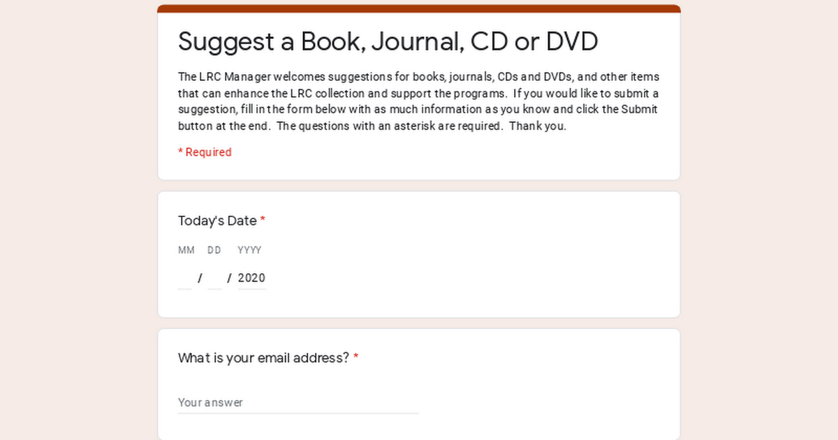 Suggest a Book, Journal, CD or DVD
