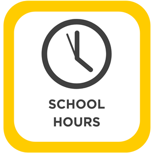 """Image of a clock at 4 o'clock with the words """"School Hours"""" written below it."""