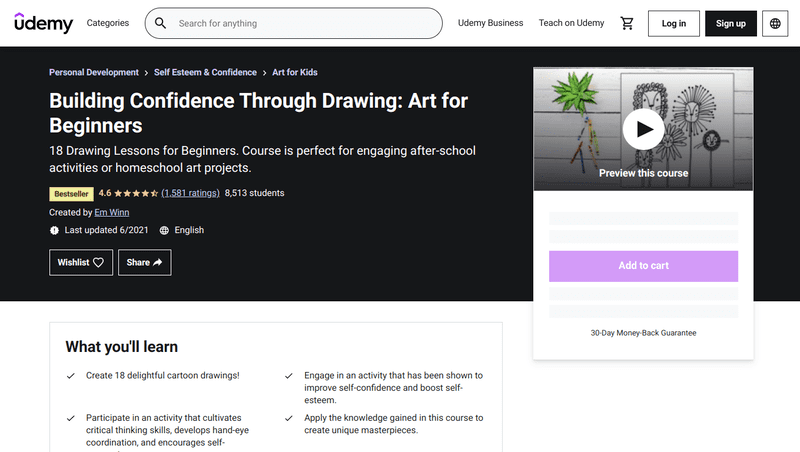 Building Confidence Through Drawing: Art for Beginners contains 18 drawing lessons for kids, making it perfect for homeschool art projects or after-school activities.