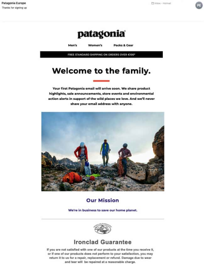 welcome marketing email example patagonia.