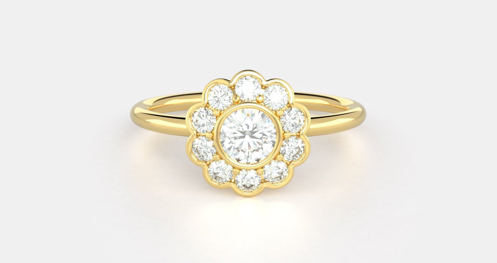 A cluster diamond ring in yellow gold