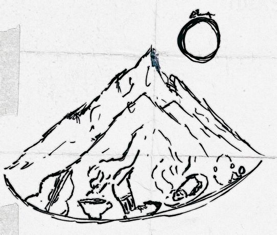 moon and a mountain featuring guitar, coffee mug, hiking boot, burrito breakfast, and juggling