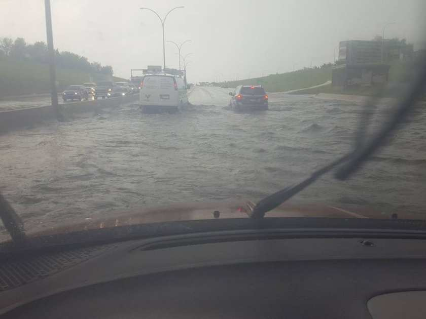 Shawna Serniak and her son Trylan, 19, were caught in a flooded underpass on the Whitemud during a torrential rainstorm in 2016. This picture was taken from Serniak's Facebook page, and shows the flood, taken from inside the family's Dodge Journey.