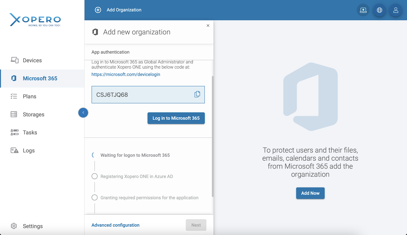 Adding your Microsoft 365 organization to Xopero ONE