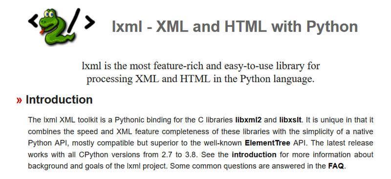 Lxml – простая и быстрая при анализе больших документов библиотека