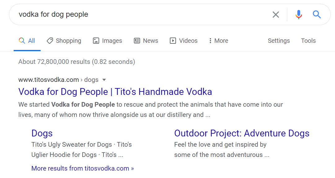 "A screenshot of the search engine results page on google for the search ""vodka for dog people"". A customer-defining SEO keyword."