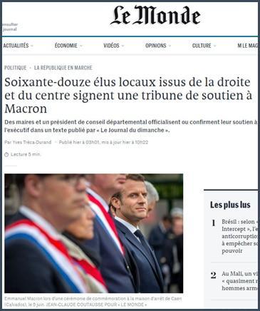 Le Monde 72 élus locaux issus de la droite et du centre signent une tribune de soutien à Macron