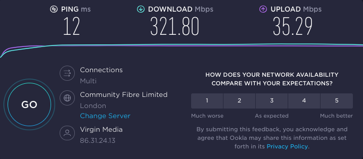 Reviewer's baseline speed test results