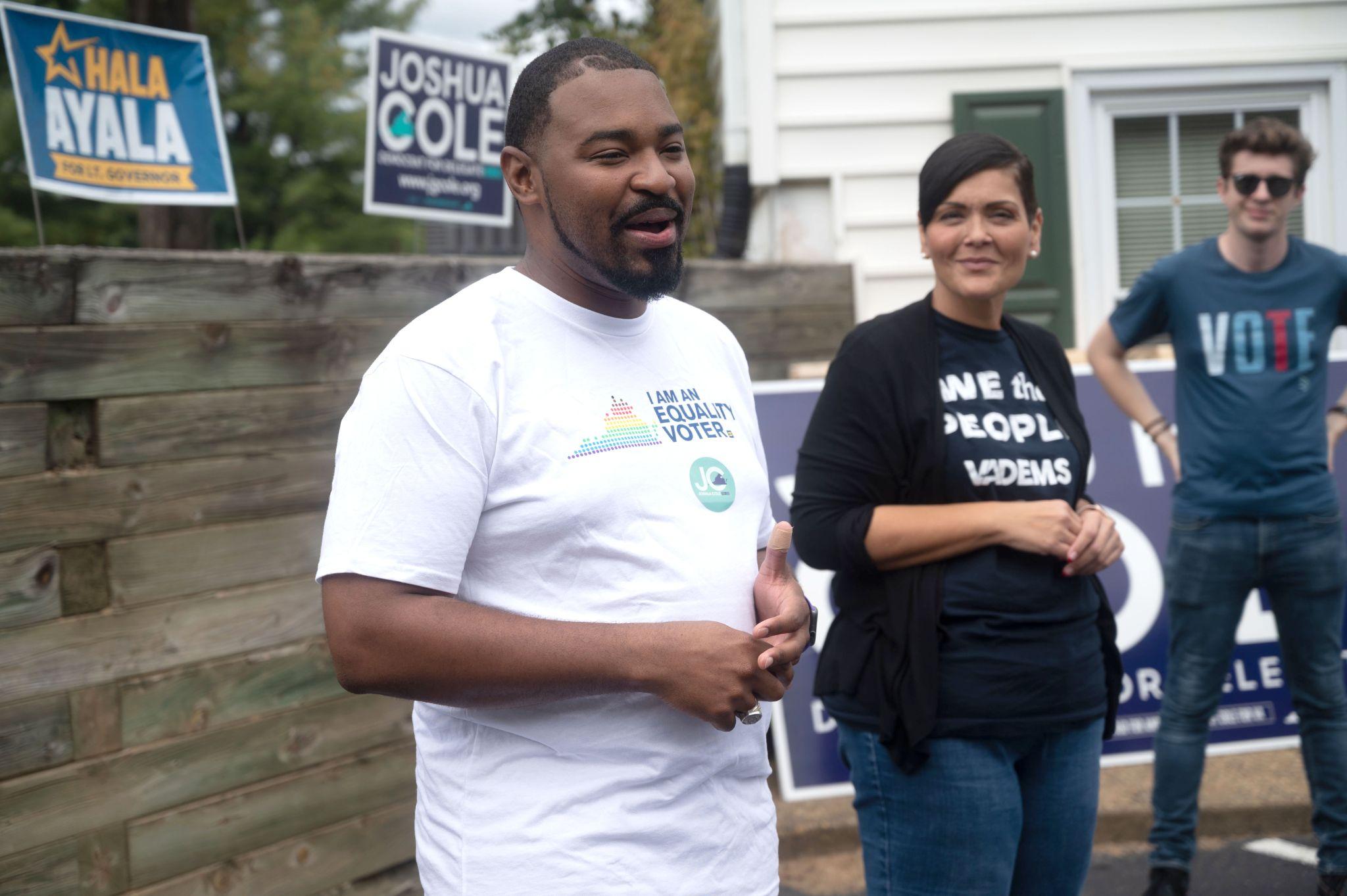 Left to right: Del. Joshua Cole, Del. Hala Ayala at Cole Campaign Office, Stafford, VA