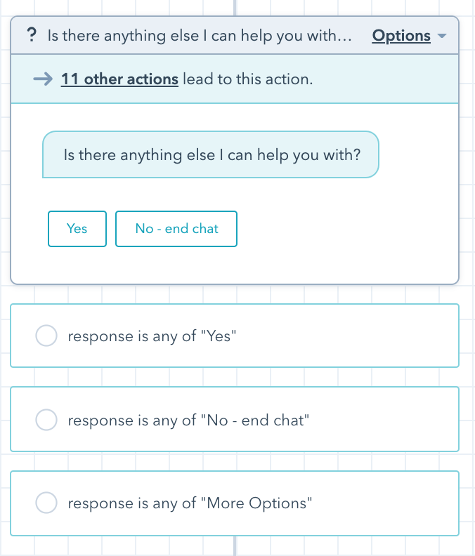 Hubspot chat builder tool showing a specific action
