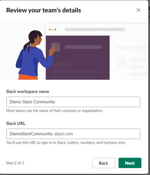 Screenshot Showing How to Name or Rename a Slack Community.