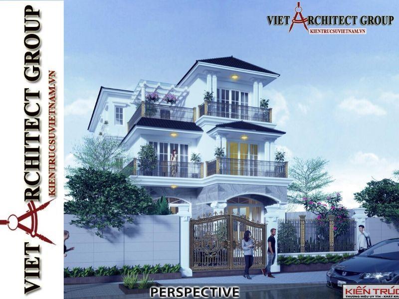 thiet ke biet thu tan co dien 1 - Thiết kế biệt thự 3 tầng kiến trúc tân cổ điển ở Huế