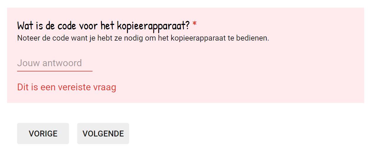 google formulieren vraag