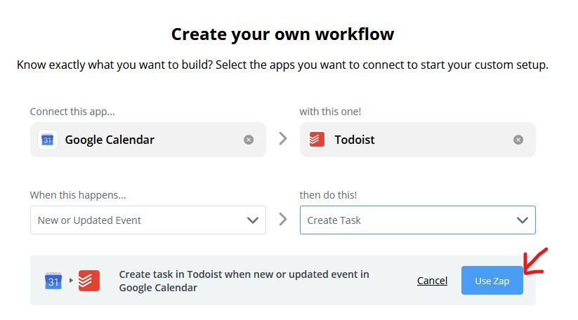 Zapier tricks and tips: Integrate Google calendar with Todoist
