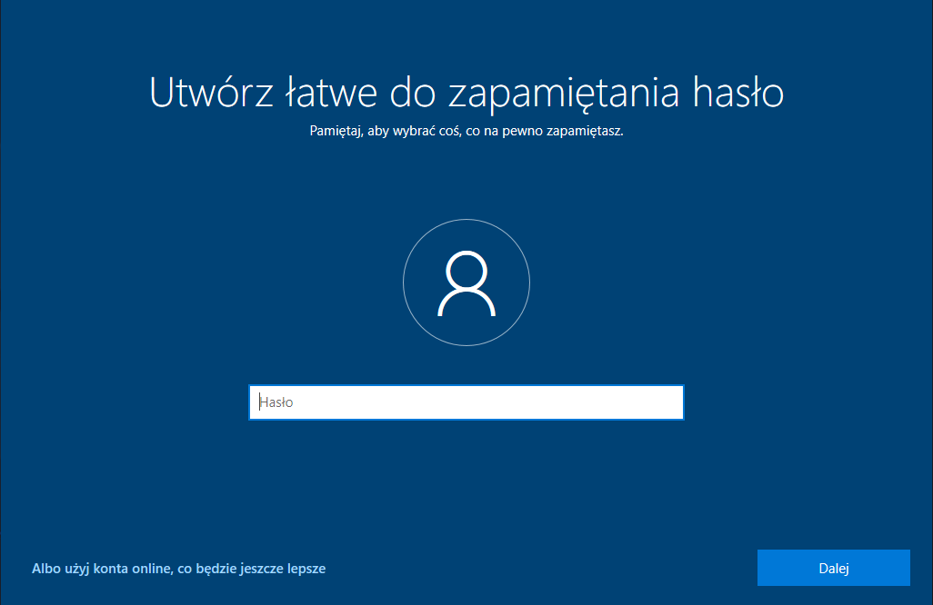 hasło windows 10