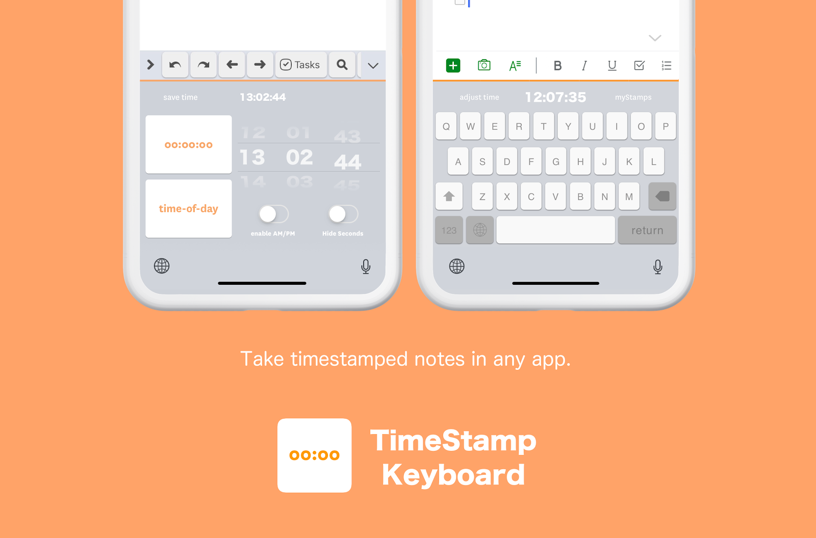 TimeStamp App–a custom keyboard with an embedded, adjustable clock for logging.