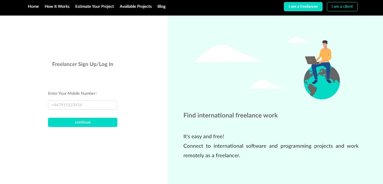 freelancer sign up/log in