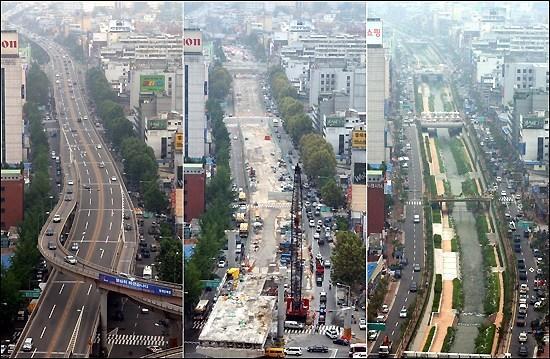 Antes e depois da demolição do viaduto e recuperação do Rio Cheonggyecheon