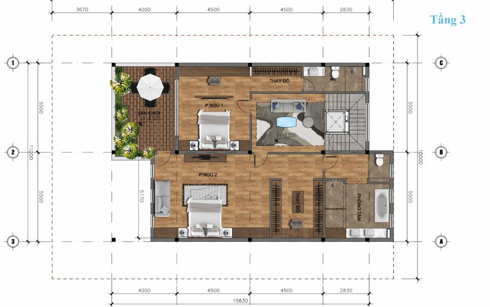 thiết kế tầng 3 biệt thự đơn lập Sunshine wonder villa