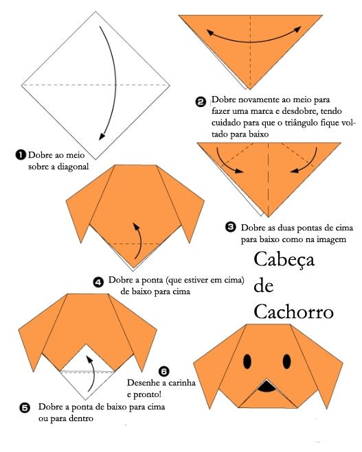 Cabeça de cachorro Origami