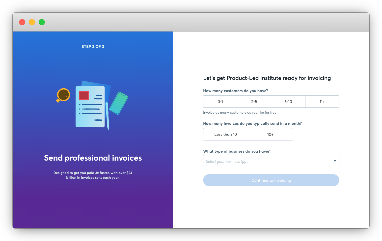 Reminding users inside the Wave invoicing app