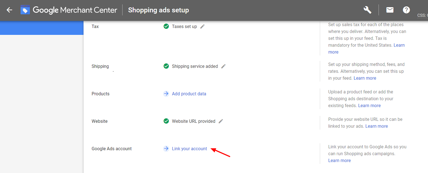 Link google ads account with GMC
