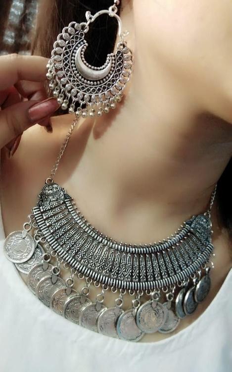 Stylish Afghani Neckpiece | Fashion jewelry earrings, Girly jewelry, Silver  jewelry accessories