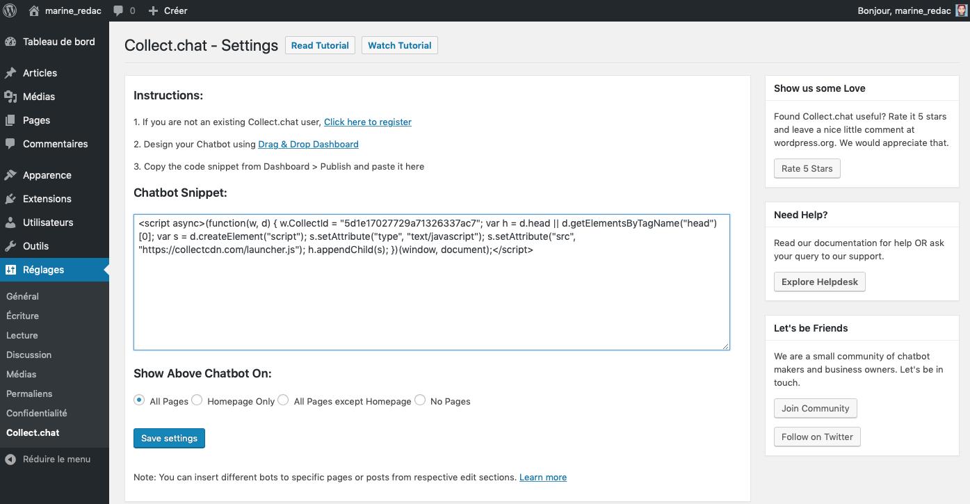 Intégrer votre chatbot Collect.chat à WordPress