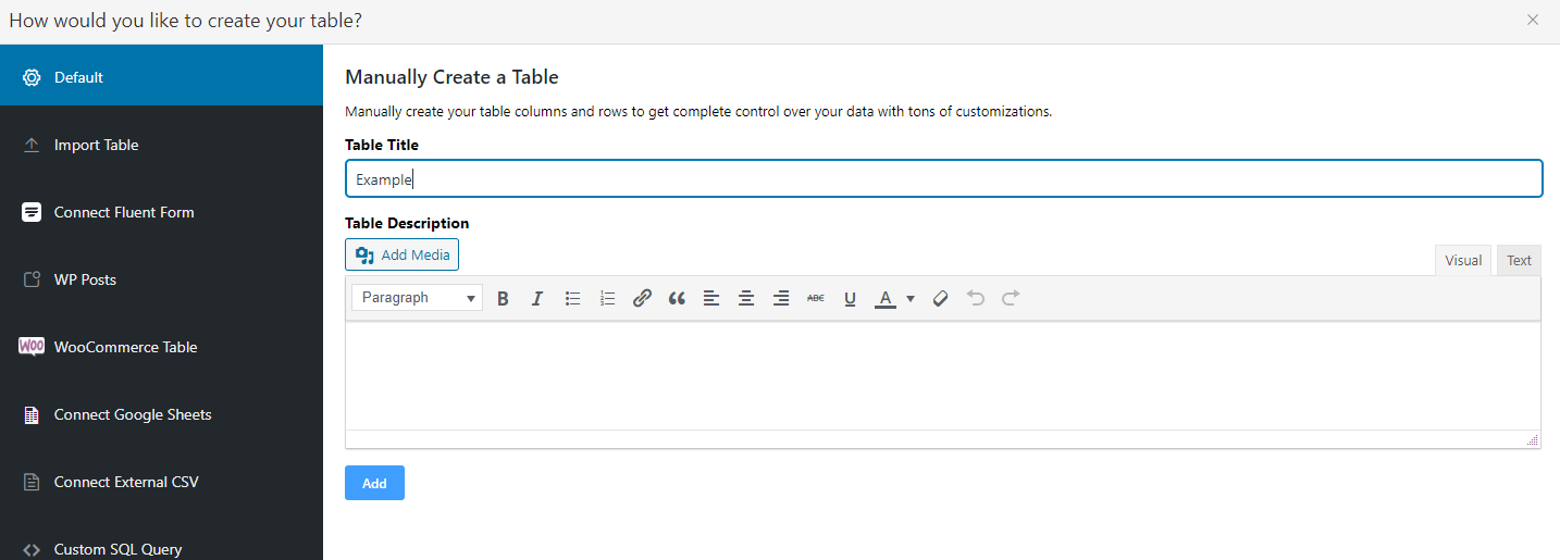 Create online data tables with Ninja Tables