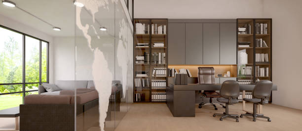 Working room manager and living.Office furniture.Modern style.3d rendering Working room manager and living.Office furniture.Modern style.3d rendering private office stock pictures, royalty-free photos & images