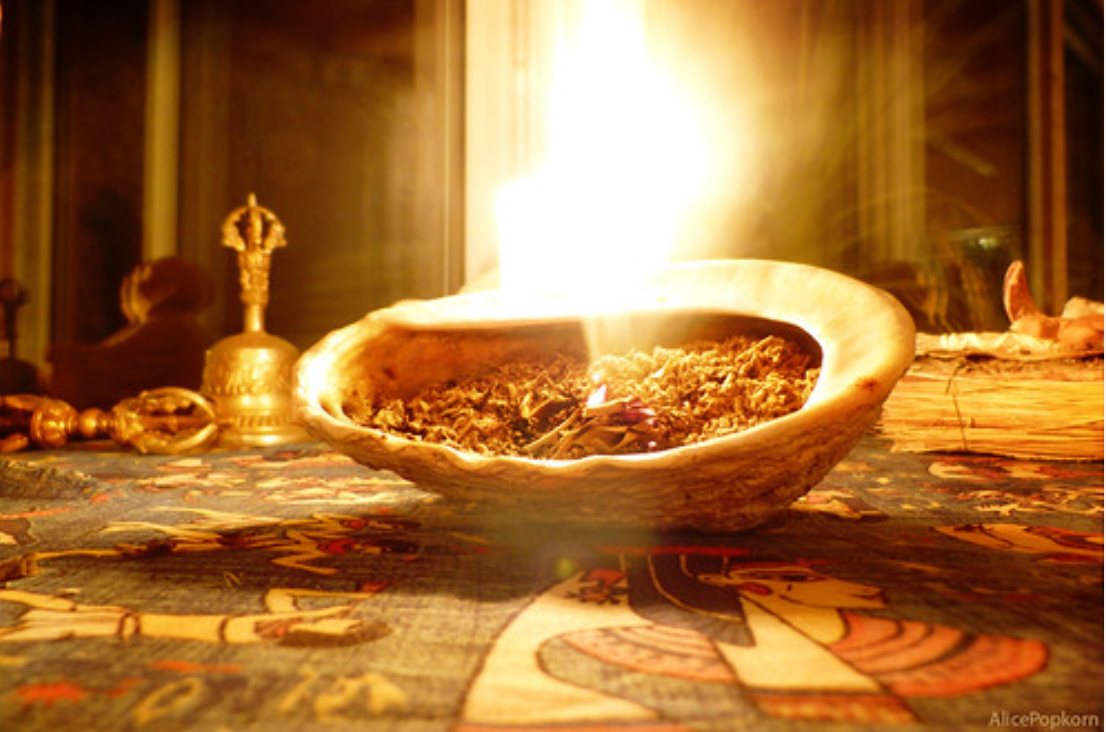 Burning herbs for cleansing