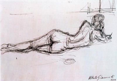 Desnudo tumbado de espaldas -  Alberto Giacometti: Alberto Giacometti, Dibujo De La Vida, Dibujos Del Arte
