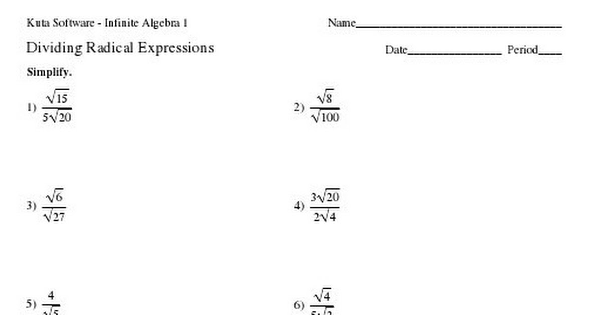 Kuta Radicals Rationalize Denominatorpdf Google Drive – Kuta Software Infinite Algebra 1 Worksheet Answers