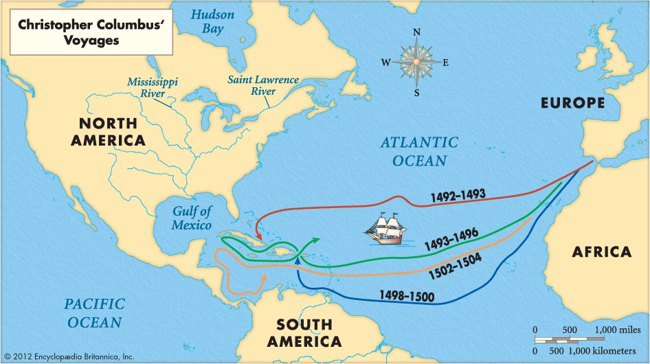 Image result for columbus voyage map