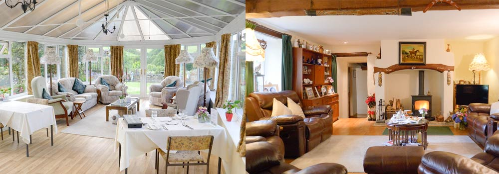 Photos of the conservatory and the lounge at West Down Guest House in North Devon