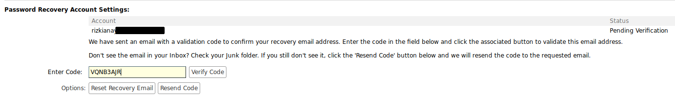 Verify Code Password Recovery