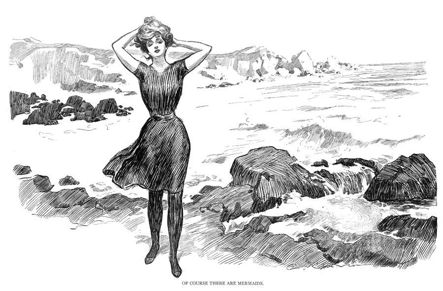 gibson girl from 1920's showing how women body image is still thin and hour glass but not as restricted as victorian era