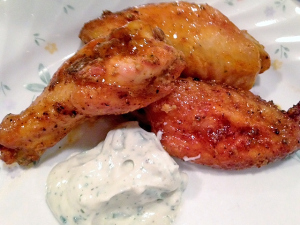 Baked Wings with Sour Cream Dipping Sauce, Christine Van Arsdalane