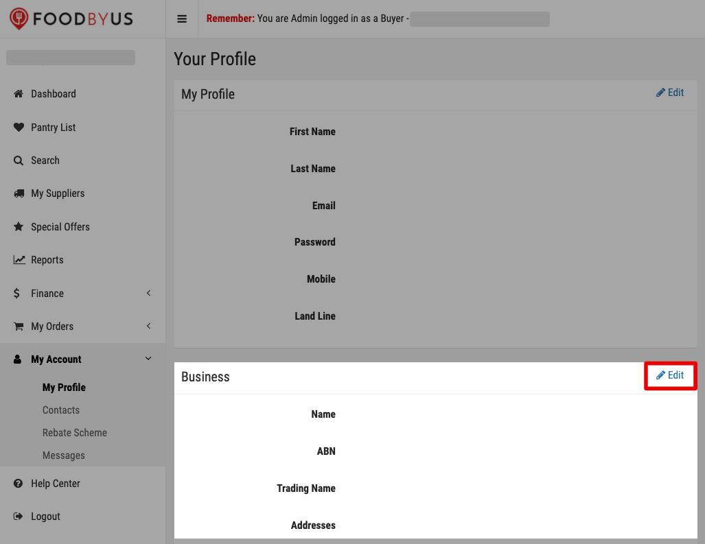 FoodByUs edit business profile