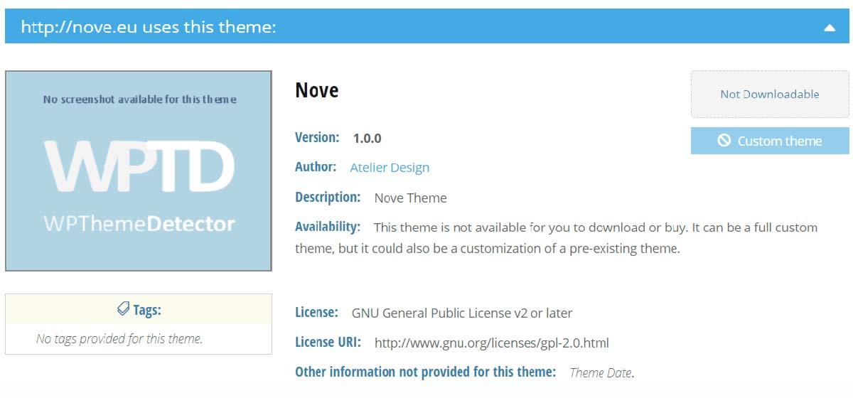 Exemplo de resultado de análise proporcionado pelo WordPress Theme Detector