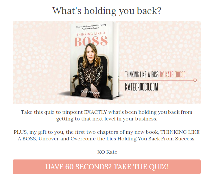 quiz pop-up from Kate Crocco